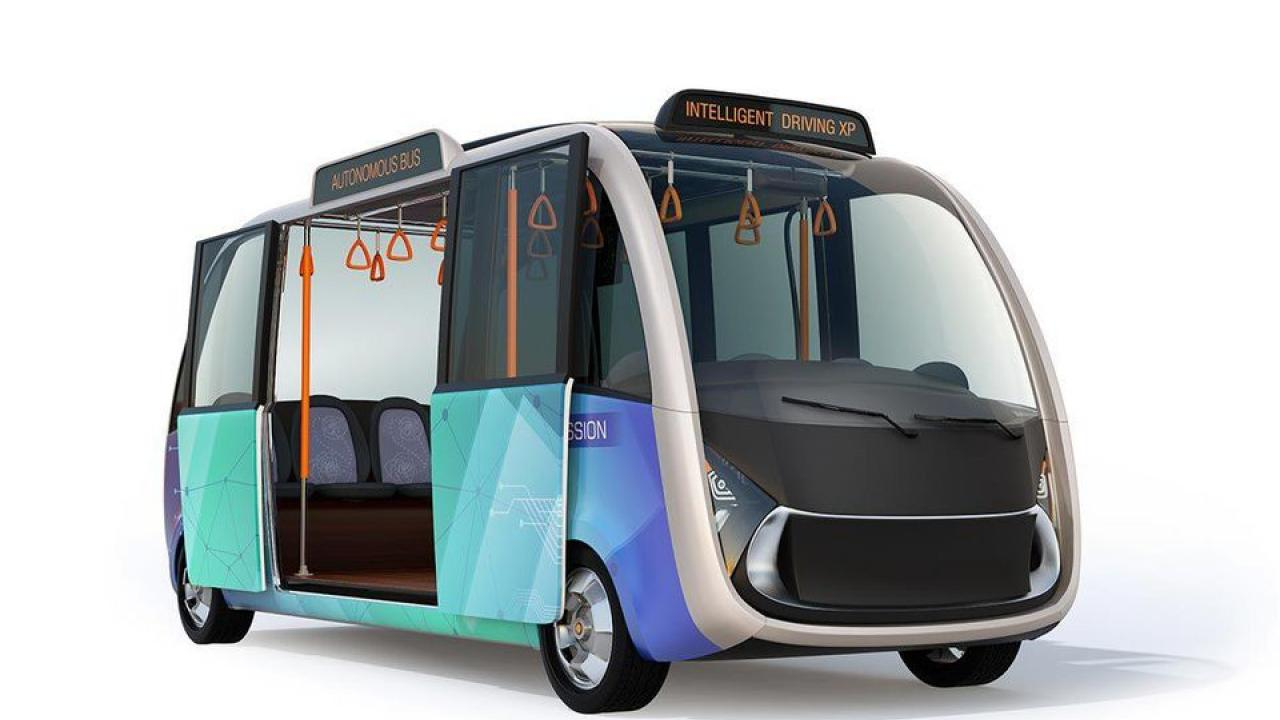 Rendering of a driverless shuttle. ADOBE